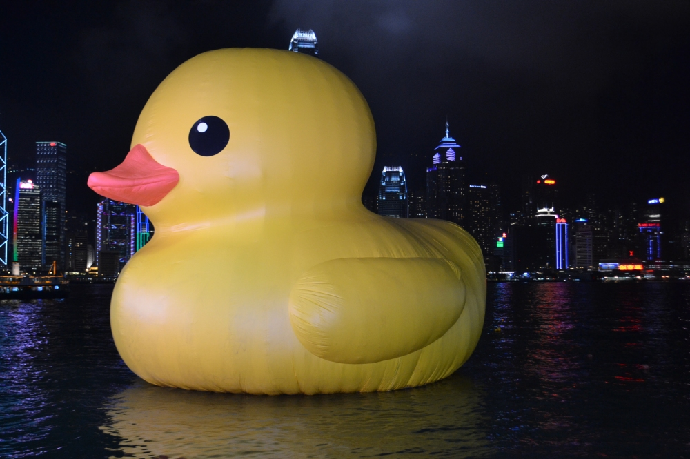 There was a rubber duck. Thankfully we caught it at its last day in HK. You have to understand. It was a giant duck.