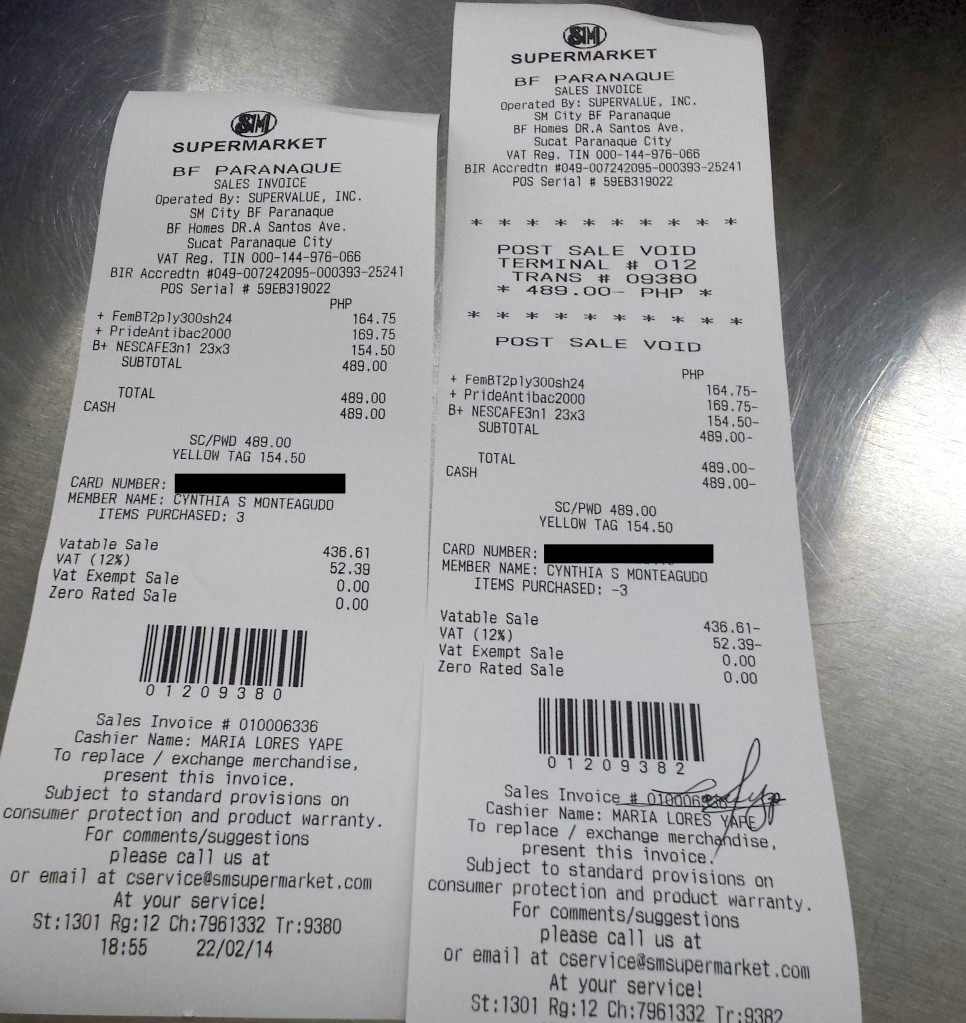 """Left, showing that three products marked with the yellow tag were punched in, but only one product was recognised as part of the promo (""""YELLOW TAG 154.50"""" below the cash total). Right, voiding of checked receipt."""